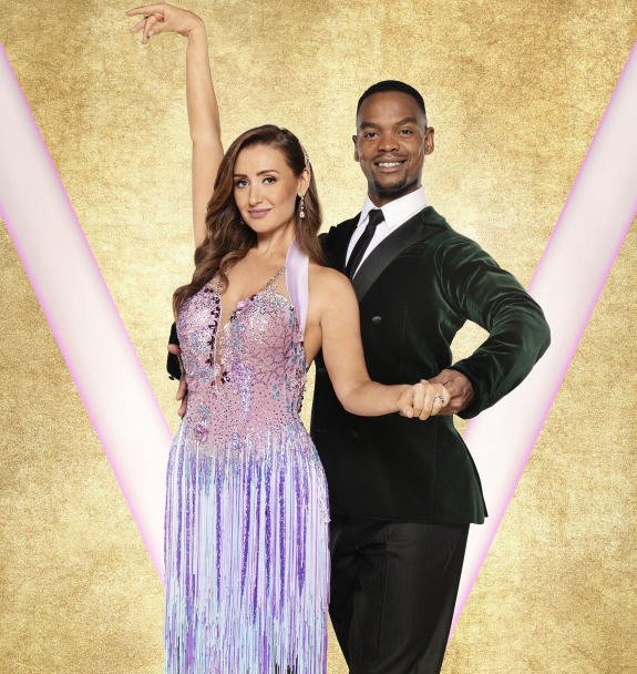 Catherine Tyldesley with her dance partner, Johannes Radebe in Strictly Come Dancing