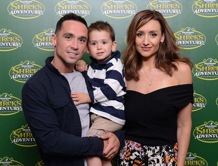 Catherine Tyldesley with her husband, Tom Pitfield and their son