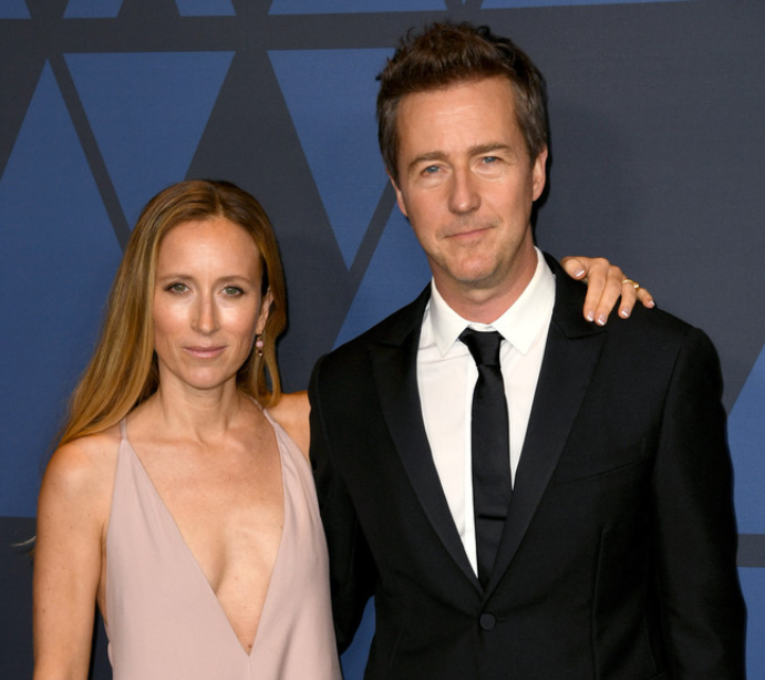 Edward Norton with his wife, Shauna Robertson