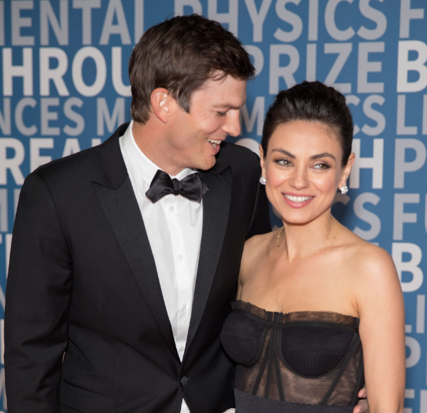 Ashton Kutcher With His Wife Mila Kunis