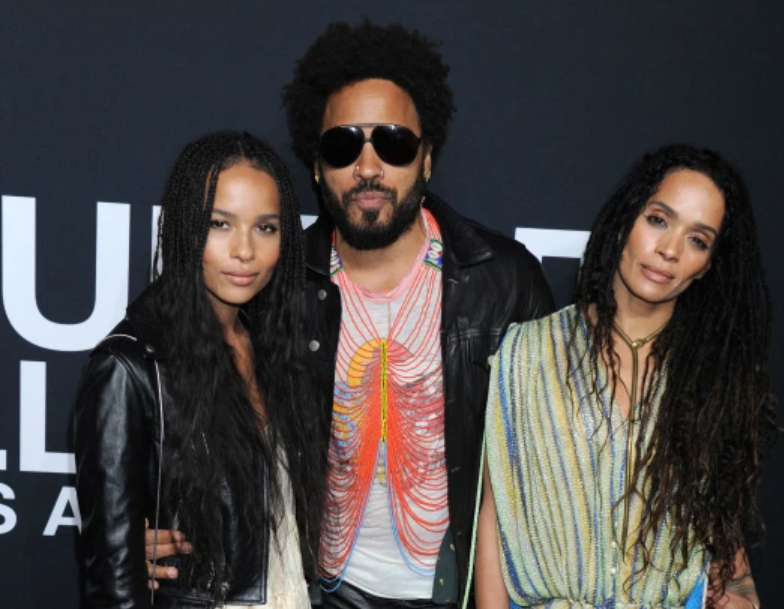 Lenny Kravitz with his ex-wife, Lisa Bonet and their daughter, Zoe Isabella Kravitz