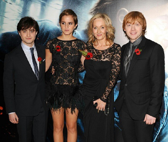 J.K. Rowling With The Character Of Harry Potter