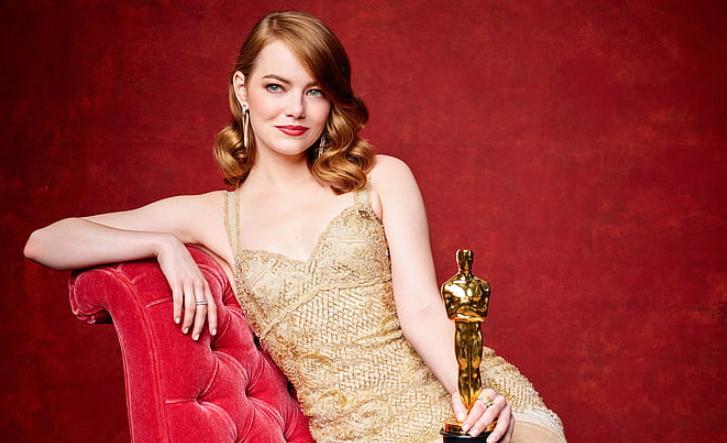 Emma Stone with her Academy Award