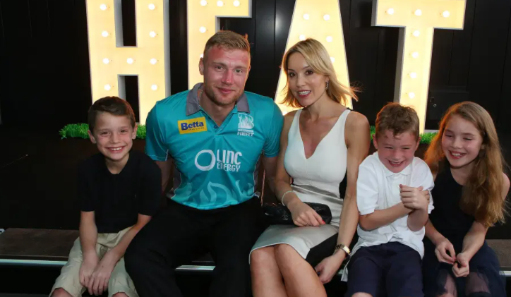 Andrew Flintoff with his wife, Rachael Wools and kids