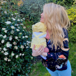 Laura Whitmore with her newborn baby