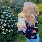 Laura Whitmore with her newborn baby