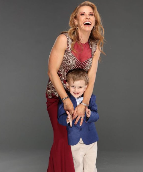 Mickie James with her son