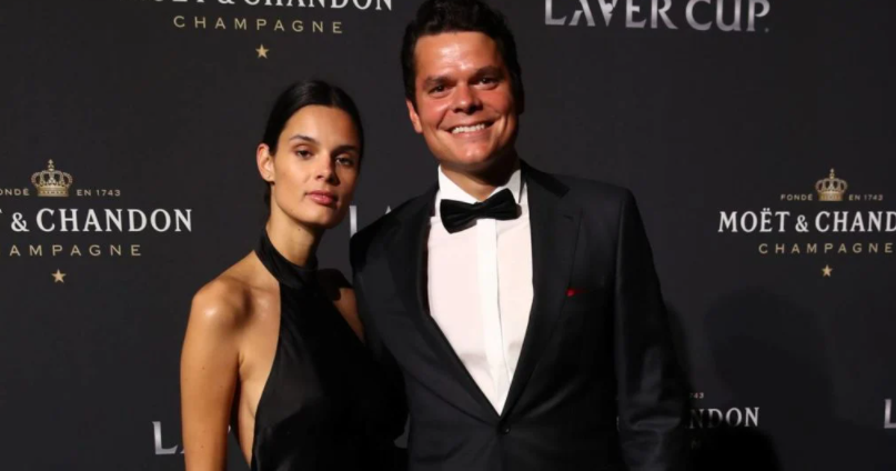 Milos Raonic and his girlfriend, Camille Ringoir