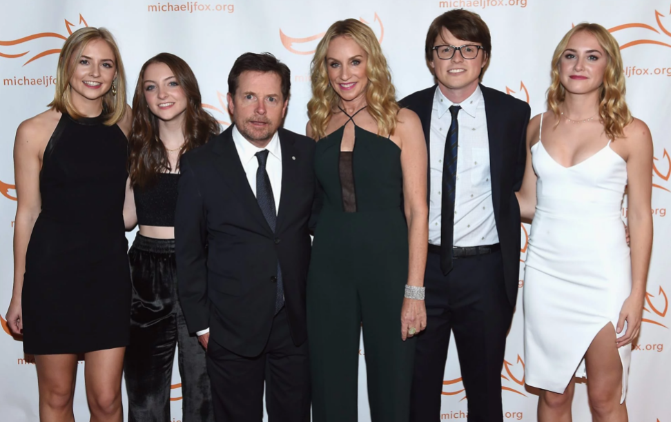Michael J. Fox with his wife Trcy Pollan, and their kids