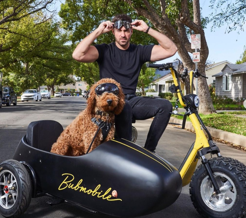 Actor Jeff Dye with his pet dog