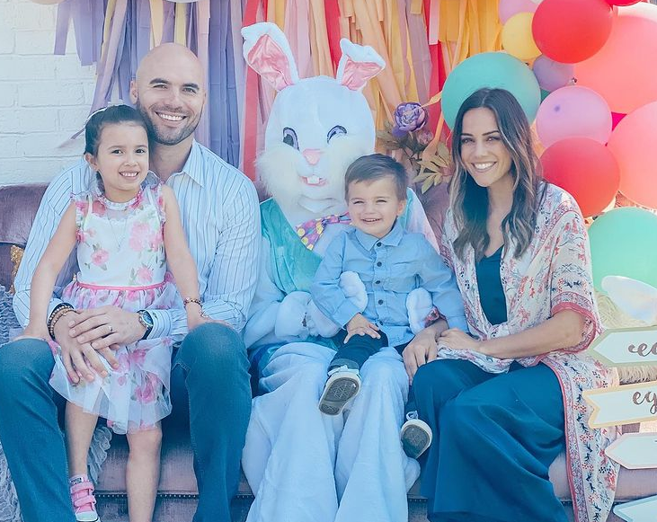Jana Kramer with her husband, Mike Caussin and their two lovely kids during Easter Day
