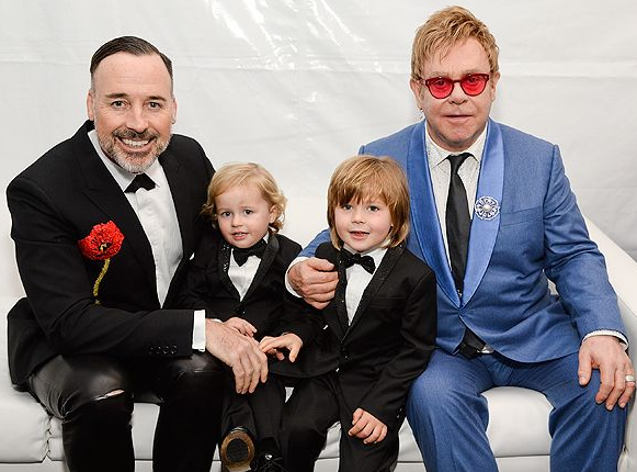 Elton John With His Boyfriend, David Furnish and Childrens