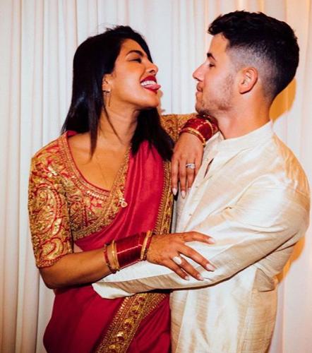 Priyanka Chopra and Nick Jonas In Indian Dress