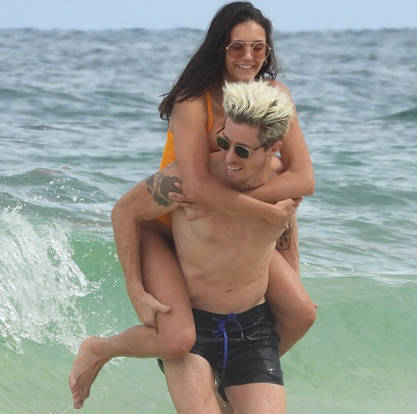 Nina Dobrev and her boyfriend Shaun White enjoying on the beach at Mexico