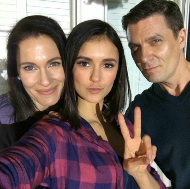 Nina Dobrev with her mom and dad