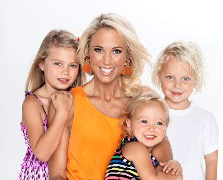 Bec Hewitt with her kids