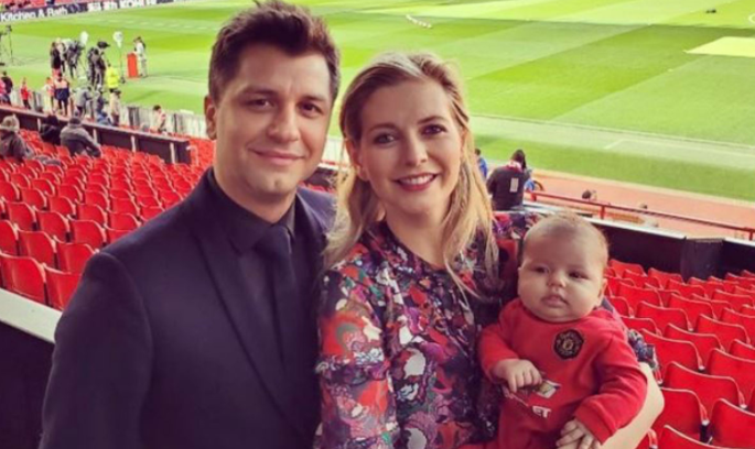Rachel Riley with her husband, Pasha Kovalev and their baby