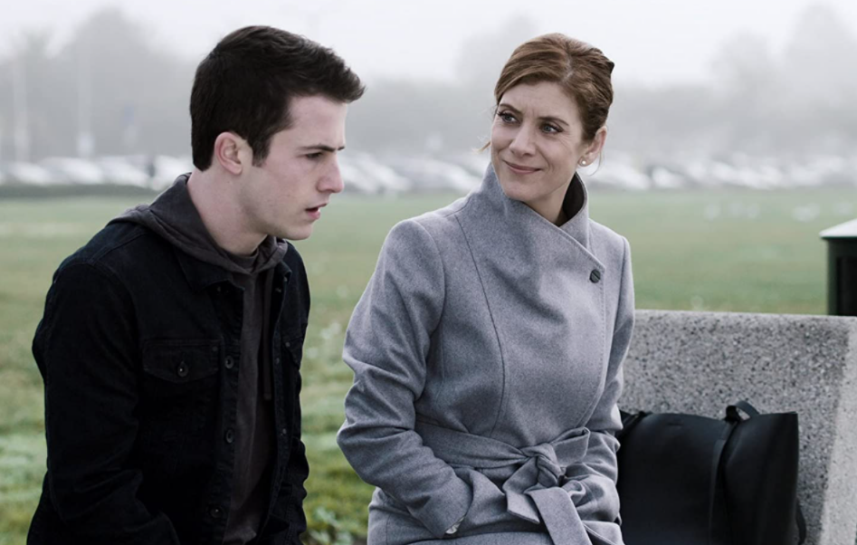 Kate Walsh (Right) in 13 Reasons Why with Dylan Minnette (Left)