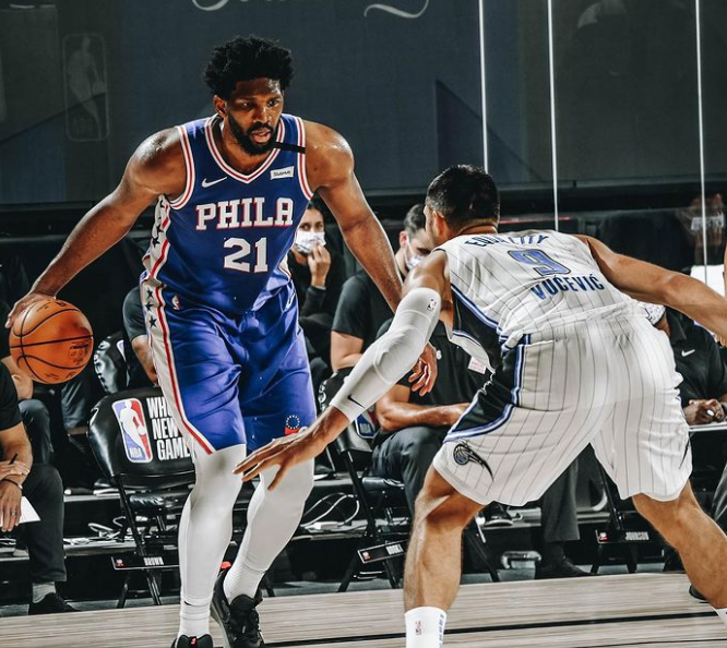 Joel Embiid with the ball against the opponent