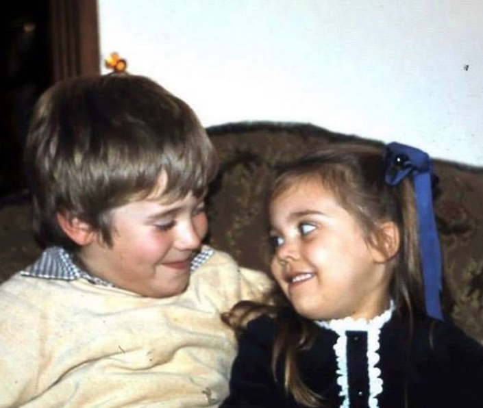 Lee Westwood with his sister, Yolanda Battrum during childhood