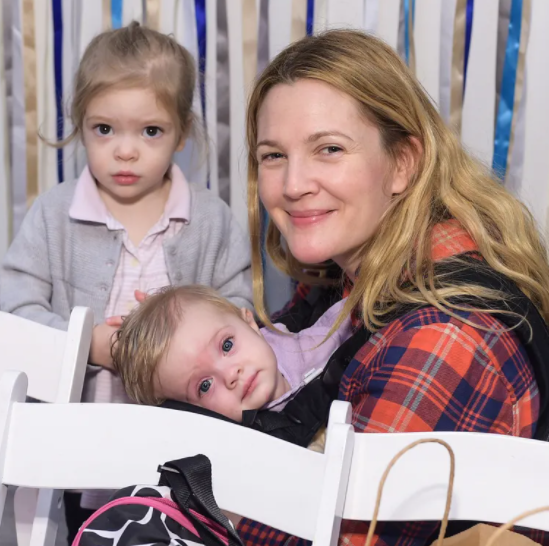 Drew Barrymore with her kids, Olive and Frankie