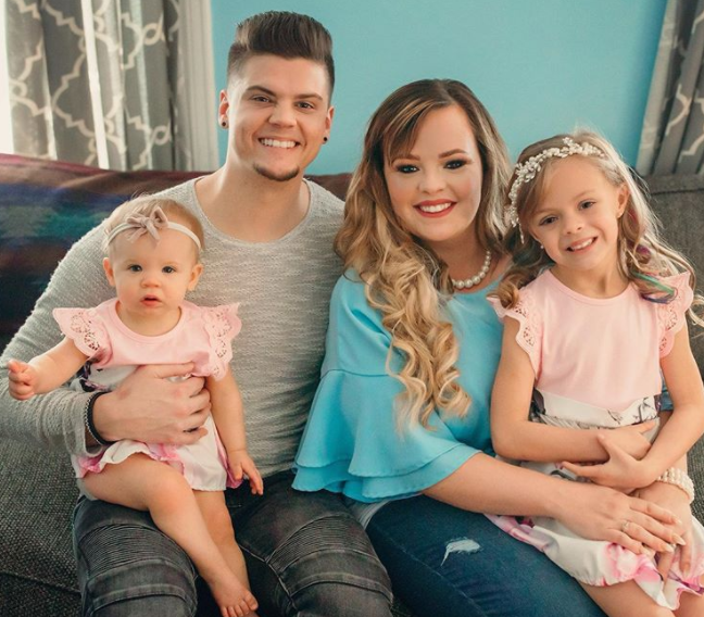 Tyler Baltierra with his wife, Catelynn and their daughters