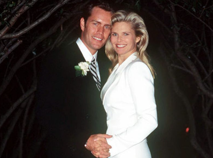 Christie Brinkley and ex-husband, Peter Cook pose on their wedding day