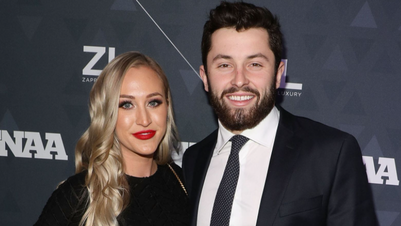Baker Mayfield and his wife, Emily Wilkinson