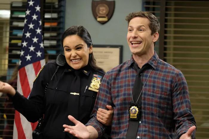 Melissa Fumero as Amy Santiago, and Andy Samberg as Jake Peralta in season 7 episode 10 of Brooklyn Nine-Nine