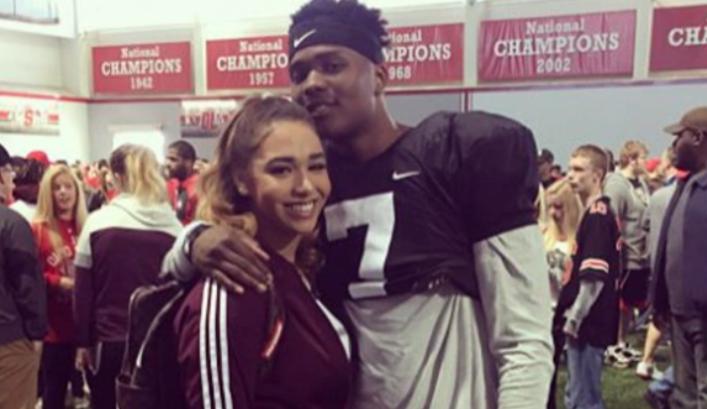 Dwayne Haskins with his girlfriend, Savhana Arai Cousin