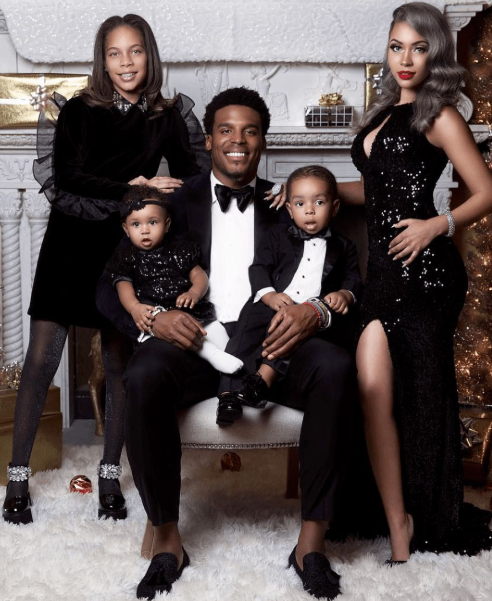 Cam Newton with his ex-girlfriend, Kia Proctor and their childrens