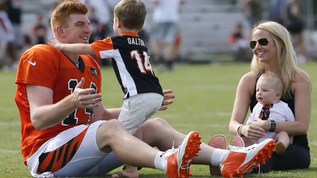 Andy Dalton with his wife and childrens