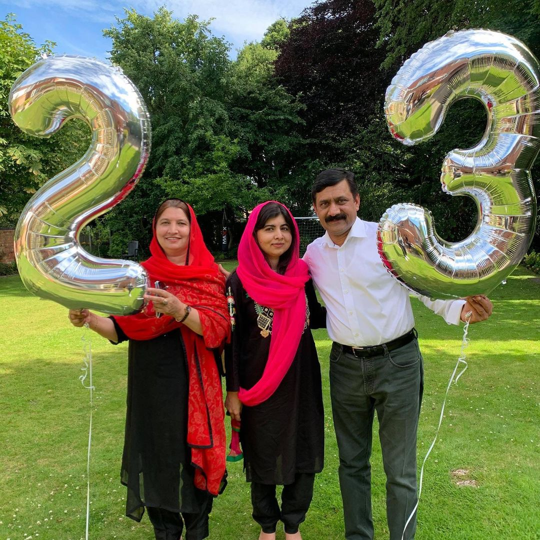 Malala Yousafzai celebrating her 23rd birthday with her parents