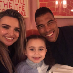 Nadine Coyle with her fiance, Jason Bell and their daughter