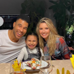 Jason Bell with his ex-fiance, Nadine Coyle and their daughter, Anaiya