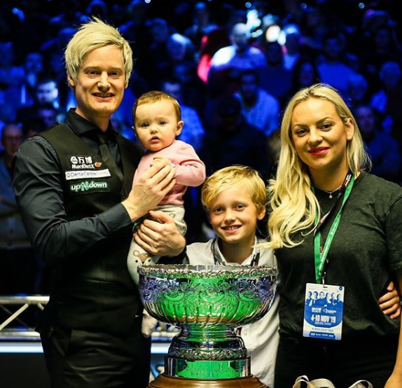 Neil Robertson With His Wife And Child