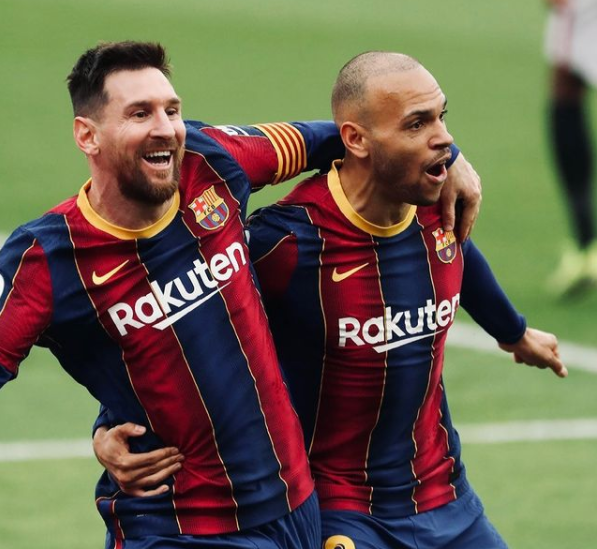 Braithwaite scored his first goal for Barcelona following an assist by Lionel Messi against against RCD Mallorca