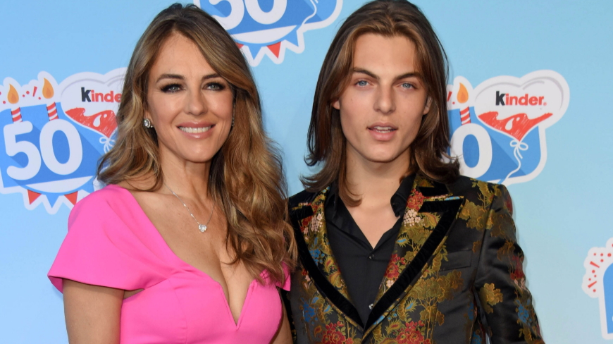 Damian Hurley with his mom, Elizabeth Hurley