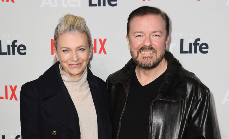 Ricky Gervais with his girlfriend, Jane Fallon