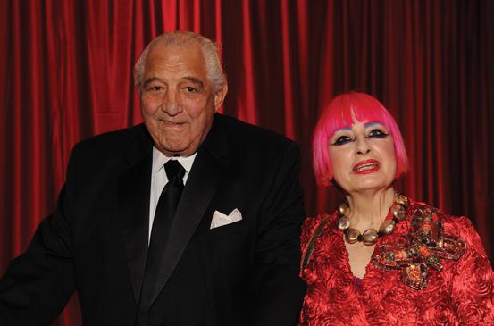 Zandra Rhodes with her longtime partner, Salah Hassanein