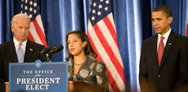 US Vice President Joe Biden (left), National Security Adviser Susan Rice (Middle) and President Barack Obama (right)