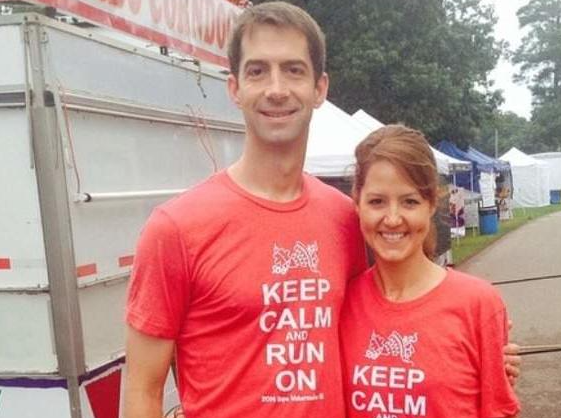 Tom Cotton with his wife; Anna