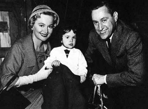 Olivia da Havilland with her husband, Pierre Galante and their daughter