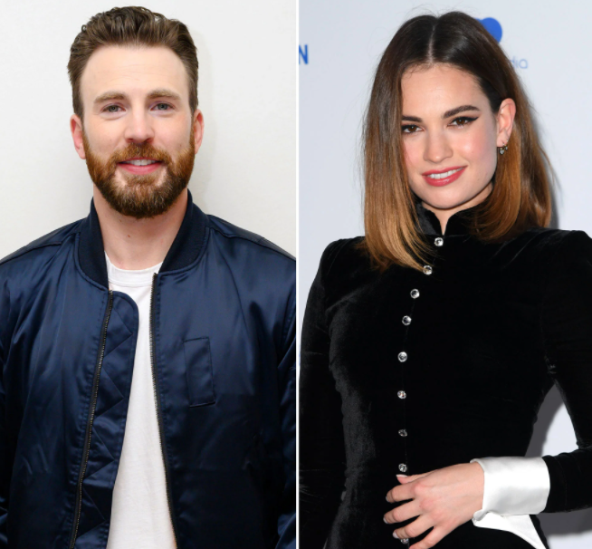 Lily James (right) and Chris Evans (Left) Are Dating Each Other