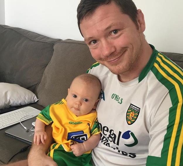 Joe Duffy with baby