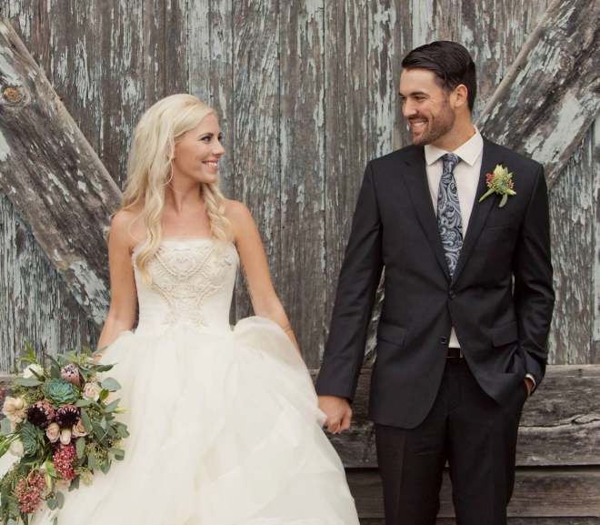 Robbie Ray with his wife Taylor Pasma in their wedding