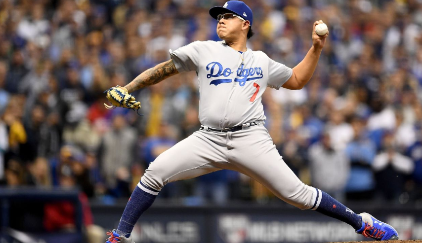 Julio Urias, known for his pickoff move, leading the major leagues in his rookie season with six pickoffs