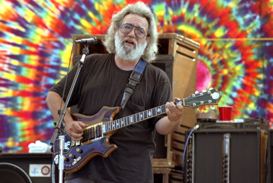 Jerry Garcia performing at the Eel River in Garberville, California on August 10, 1991