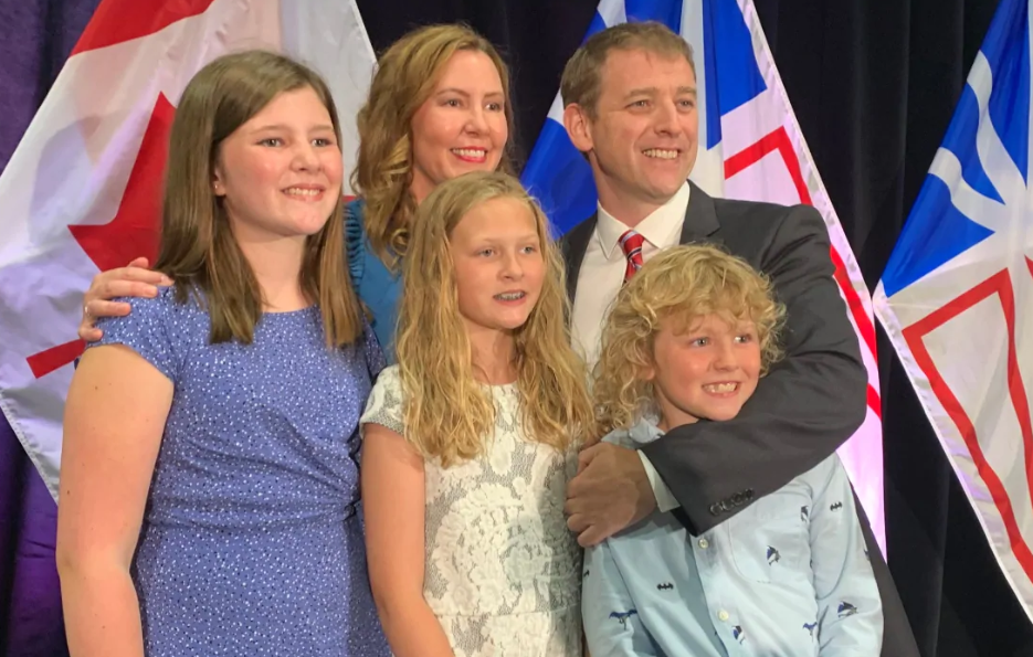 Andrew Furey picture with his family, wife Alison, and children Rachel, Maggie and Mark
