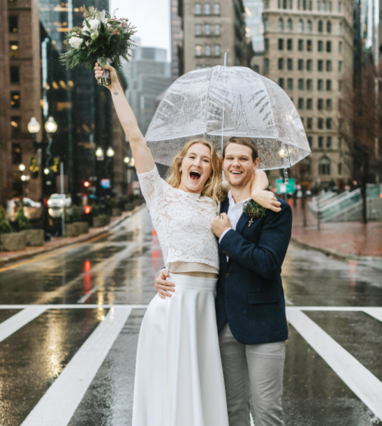 Sam Mewis with her husband, Pat Johnson